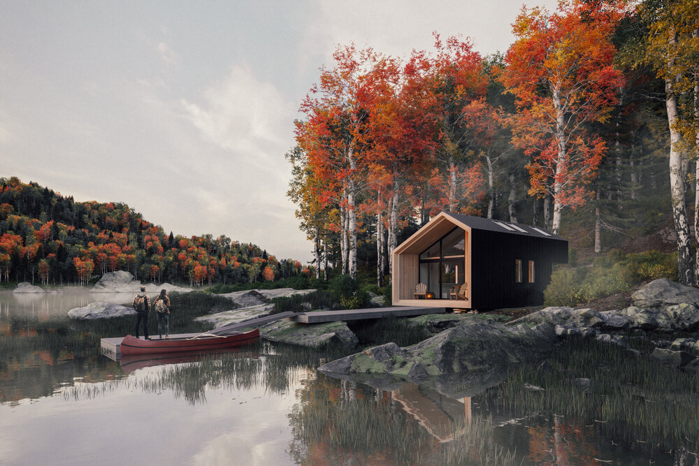 Black Tiny Cabin by Backcountry Hut in Canada