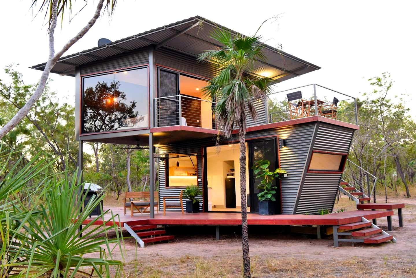 Modern Two Storey Shipping Container House in Australia