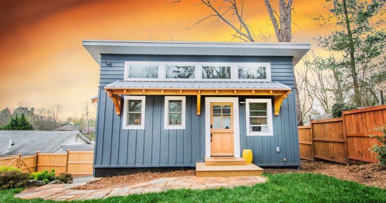 Blue ADU Tiny House by Nanostead in Asheville