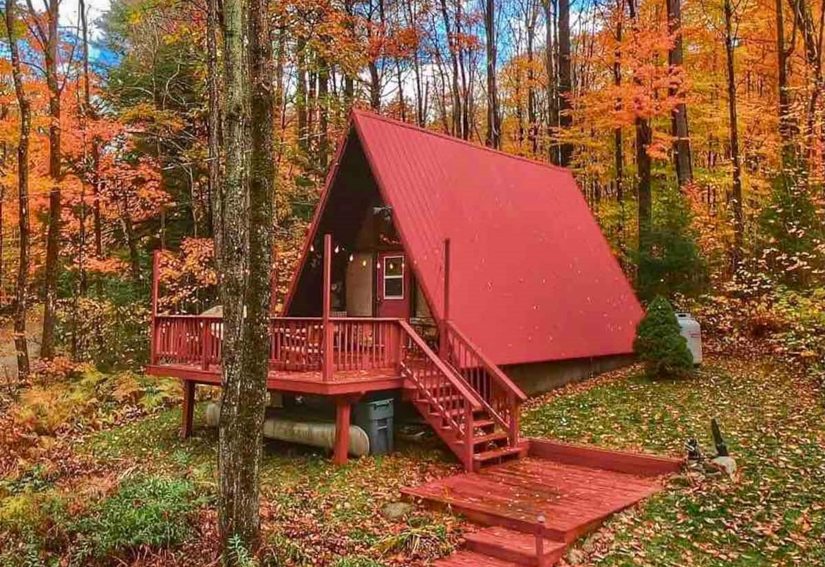 Red A-Frame Tiny House in Vermont