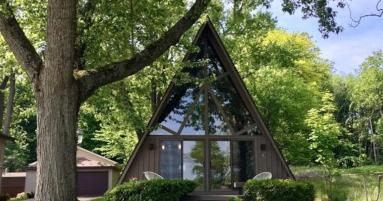 Retro A-Frame Tiny House on Fine Lake in Michigan